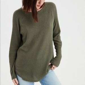 AEO Plush Waffle long sleeve tee mint green